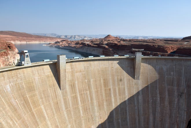 The Glen Canyon Dam on the Utah/Arizona border on Aug. 21, 2020.