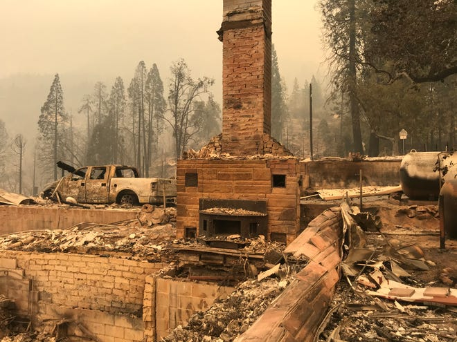 Homes in Big Creek were destroyed after the Creek Fire tore through the town.