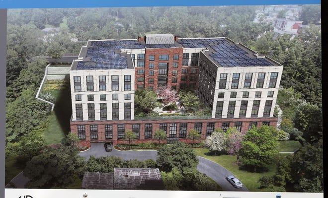 Rendering proyek perumahan baru di 645 Main Street di Peekskill setelah upacara peletakan batu pertama di lokasi pada 9 September 2020.
