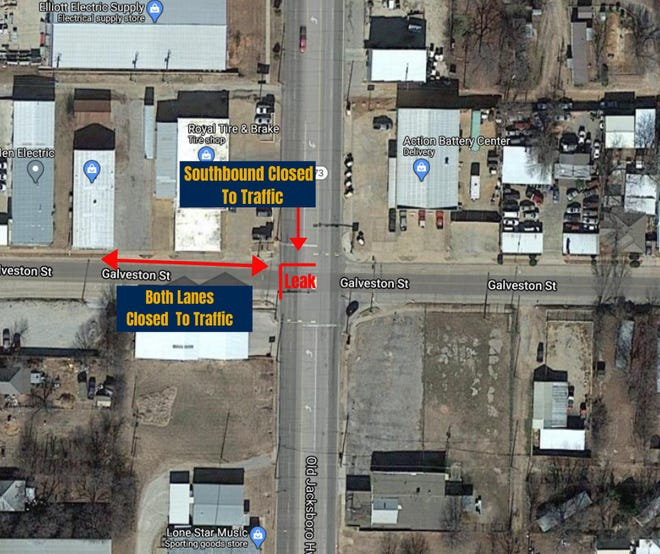Due a water main leak on Jacksboro Highway and Galveston Street, the street will need to be excavated and repaired. Both lanes of traffic on Galveston Street on the West side of Jacksboro Highway are closed.