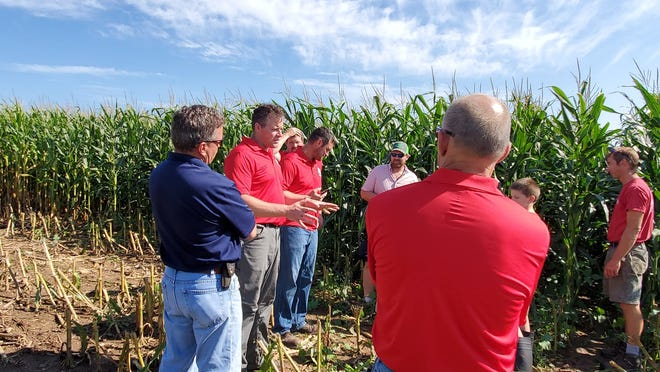 Mark Loehr discusses the farm's cover crop during the field day at Loehr Dairy near Mount Calvary, Wis.