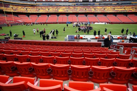 A view of a Washington Football Team practice at FedEx Field.