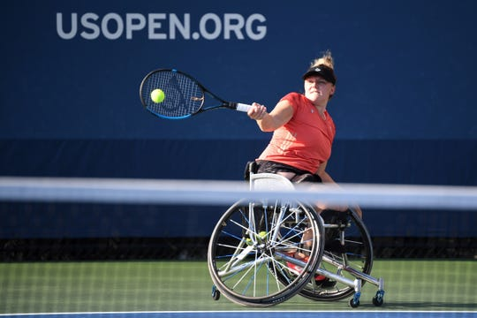 Jordanne Whiley, practicing at the USTA Billie Jean King National Tennis Center, gave birth to son Jackson in 2018.