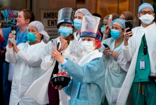 Health care workers on April 15, 2020, in New York City.