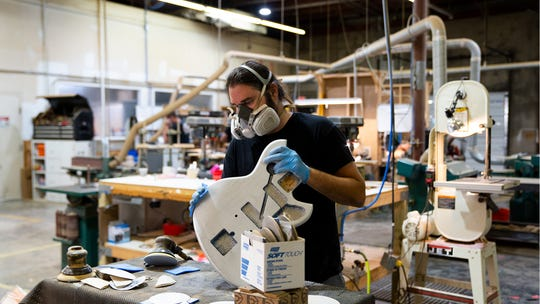 Since the COVID-19 pandemic hit the U.S. in early March, employees at Novo Guitars have been spitting shifts to limit virus exposure.