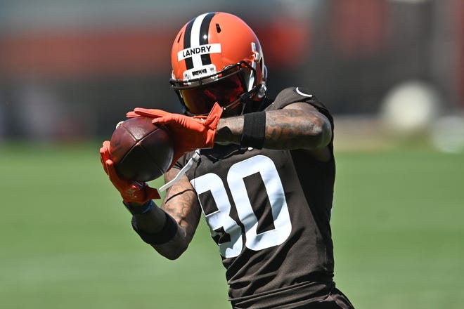 Cleveland Browns wide receiver Jarvis Landry (80) catches a pass during training camp at the Cleveland Browns training facility on Aug. 20.