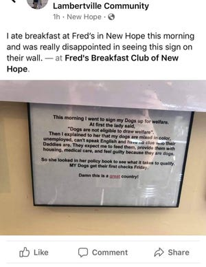 Fred's Breakfast Club of New Hope has apologized for a racially insensitive sign that was displayed inside the restaurant.
