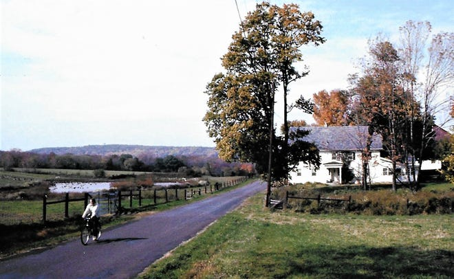 Carl LaVO bikes past Pine Holo Farm in Buckingham where he and wife Mary Anne lived at the time.