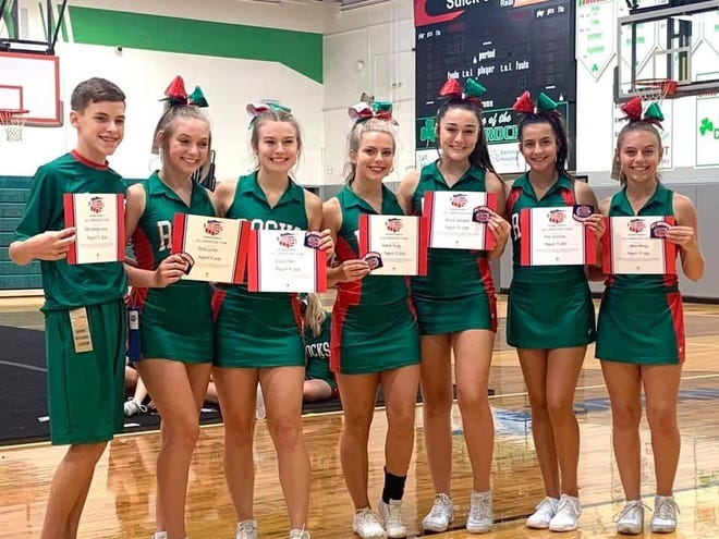 Pictured, l to r, are Barnesville Cheerleaders Tate Spangenburg, Belle Corder, Olivia Starr, Alana Trigg, Alivia Campbell, Ava Sobutka, Lakyn Abrigg.