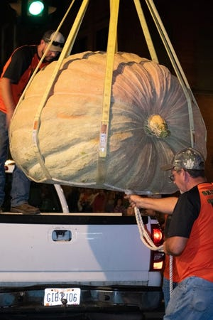 Pumpkins and gourds of all sizes were entered into last year's Barnesville Pumpkin Festival. This year's festival is canceled, but the weigh-off will go on.