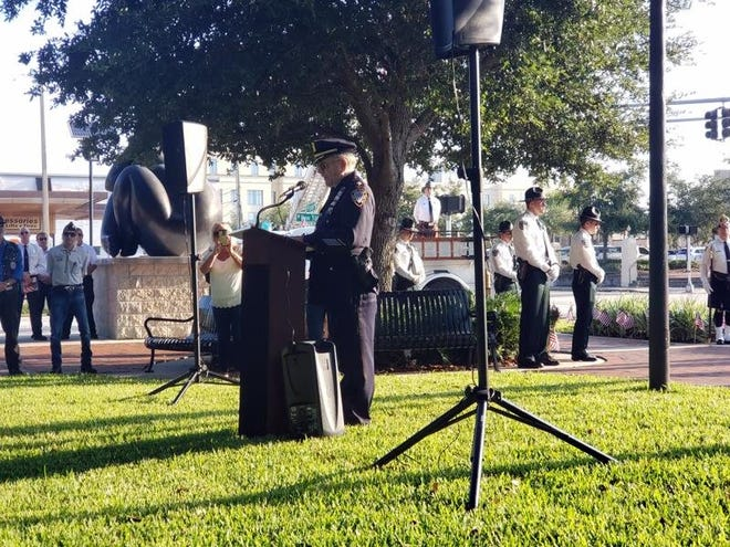 Ron Young, a retired court officer of the New York State Supreme Court, shares his story during DeLand's ceremony to memorialize Sept. 11, 2001, on the 18th anniversary. Young said he thinks daily about his fellow officers who died trying to save others. This year, DeLand will host its ceremony virtually due to COVID-19.