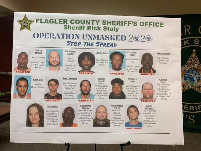 Flagler County Sheriff Rick Staly announced felony arrest warrants for 24 different people on drug dealing charges.