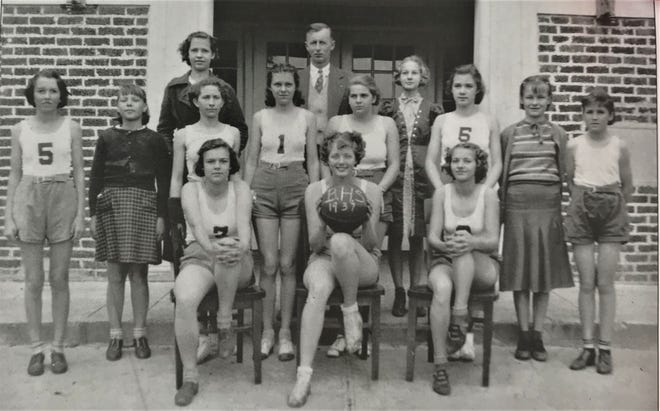 Pictured is the 1937 Bunnell High School girls' basketball team and coach. From left to right, front row: Virginia Bowers, Evelyn Robertson and Marion Hosford; second row: Hazel Holton, Martha Brocket, Louise Forsyth, Kathleen Walker, Eugene McKenzie, Elizabeth Clegg, Odessa Short and Sara Rodgers; back row: Annie Cywinski, coach Auten Chambers and Daisy Ruth Buckles.