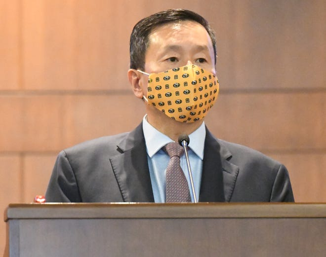 UM System President Mun Choi speaks at City Hall after a new health order closing bars early was announced by Health Director Stephanie Browning on Friday, Aug. 28, 2020.