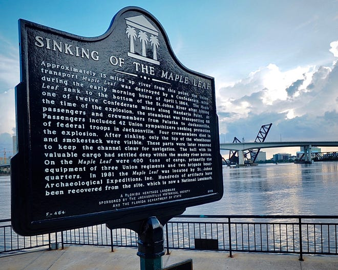 "In June, after taking down the Confederate monument in front of City Hall, the mayor's office released a list of 11 places where monuments and markers would be removed from city property. The list included two markers about the 1864 sinking of the Maple Leaf -- this one on the Northbank Riverwalk and one at Walter Jones Historic Park in Mandarin. Three months later, the markers are still there and the mayor's office says those plans are ""on hold."""