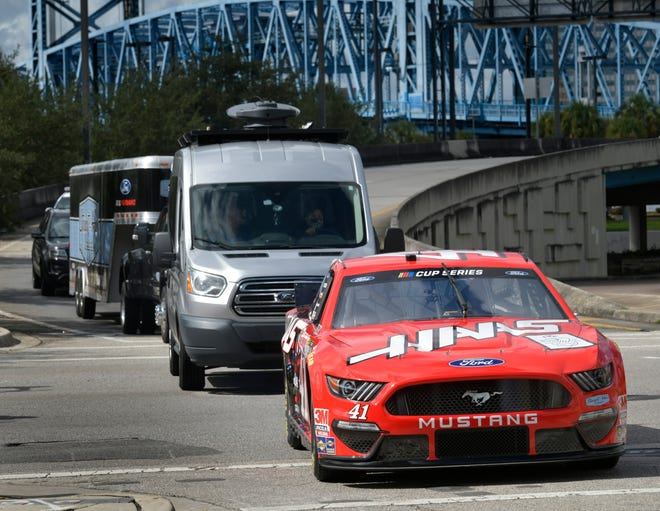 NASCAR Stewart-Haas Racing Team's No. 41 stock car rolls into town Thursday to promote the Feb. 6 Highway to Help Heroes charity drive to raise funds for the Fraternal Order of Police Foundation's Fallen Officers Welfare Relief Fund and K9s For Warriors.
