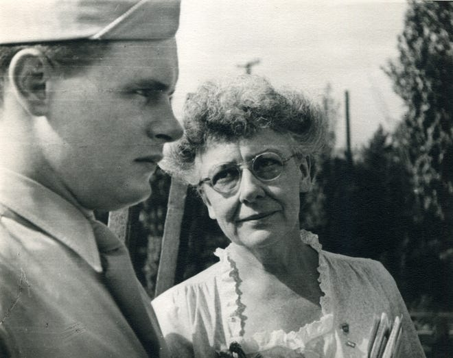 Grace Goulder Izant (1893-1984), seeing-off her son, 2nd. Lt. Jonathan G. Izant (1923-1945) at LaSalle Station in Chicago in 1941.