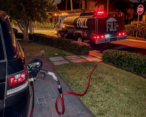 A fuel delivery app developed by Palmdale Oil, a longtime family-owned wholesale fuel and oil distribution company headquartered in Riviera Beach, allows motorists to schedule one or more vehicles for fill-up — while owners sleep. The locked vehicle is parked in the driveway with the fuel door open.