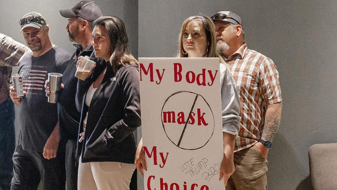 Anti-mask protesters at a rally in Gallatin County, Montana.