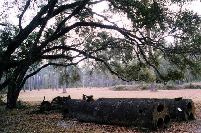 "Fort Gadsden. On a lonely rise beside the Apalachicola River in Franklin County, the earthen walls of Fort Gadsden, built in 1814, can still be visited. The place was built by the British during the War of 1812. After they evacuated, they left behind a large store of powder and weapons for their Indian and black allies, who lived in and around the fort for several years. It became known as Negro Fort. Andrew Jackson gave orders that it be destroyed and Duncan Clinch took two gunboats down the river, where he fired heated 24-pound cannonballs into the fort, igniting the powder magazine. In the tremendous explosion that followed, 270 black and Indian men, women and children were killed. Only 33 survived. The two big rusty steam boilers come from a steamboat that sank in the river a few years later, four miles upstream from the Fort. It is a state park today, one of the loneliest in all Florida, lost in the depths of the great Apalachicola National Forest. The portrait shows Lt. James Gadsden, who rebuilt and regarrisoned the fort after the explosion, and who went on to make the famous ""Gadsden Purchase,"" an enormous parcel of land in what is now New Mexico and Arizona, from the Spanish. ORG XMIT: MER0601261331028078 ORG XMIT: MER0704161020360559"