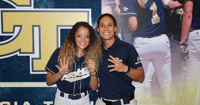 Gadsden City's Auburn Dupree is pictured with Georgia Tech coach Aileen Morales during her official visit with the Yellow Jackets in October.