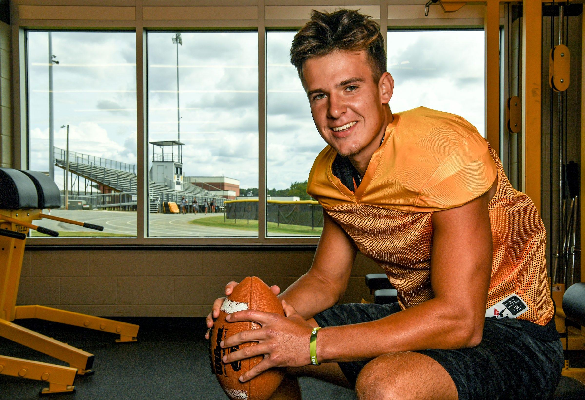Crescent football player Landon Sauers in Iva, S.C. Wednesday, September 9, 2020.