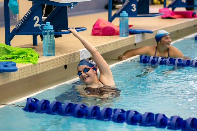 Harper Creek senior Megan Brown attends the first swim practice of the season on Wednesday, Sept. 9, 2020 at Harper Creek High School in Battle Creek, Mich.