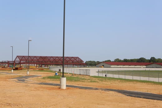 The equestrian center, still under construction, can be seen near the stables just past the harness racing track at the Oak Grove Racing & Gaming facility on Sept. 9, 2020.