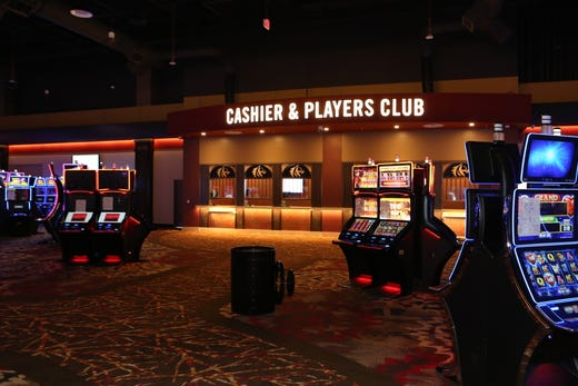 A view of the cashier and Players Club on the gaming floor of the new Oak Grove Racing & Gaming facility, set to open to the public on Sept. 18, 2020.