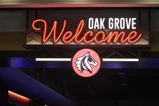 A neon sign welcomes guests to the new Oak Grove Racing & Gaming facility, scheduled to open in Oak Grove on Sept. 18, 2020.