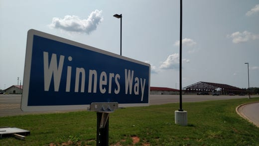A sign reading Winners Way points toward the equestrian center still under construction on the property of the new Oak Grove Racing & Gaming facility, set to open to the public on Sept. 18, 2020.