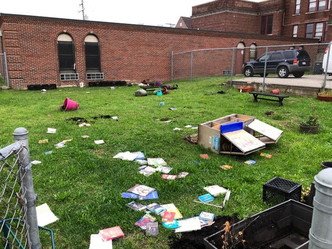 Books were torn at an outside library in a Detroit public school Thursday morning.