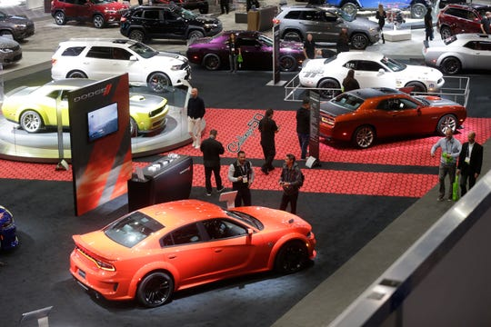 Dodge celebrates the 50th anniversary editions of the 2020 Dodge Challenger 50th Anniversary Edition muscle cars at the AutoMobility LA Auto Show on Nov. 21, 2019, in Los Angeles.