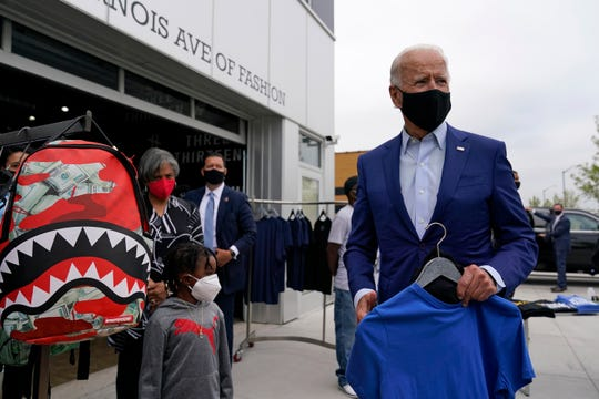 Democratic presidential candidate former Vice President Joe Biden shops for his grandchildren at Three Thirteen in Detroit, Wednesday, Sept. 9, 2020. Biden is visiting Michigan for campaign events.