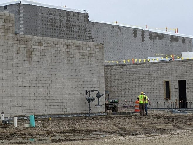 Construction continued Wednesday on the new Fremont Ross High School building. Superintendent Jon Detwiler said about 80% of the masonry work is done.