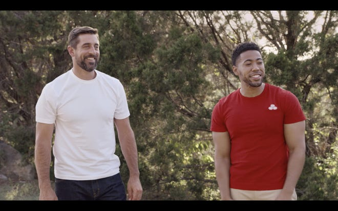 Green Bay Packers quarterback Aaron Rodgers, left, stars with Jake from State Farm in a new commercial premiering Sept. 10 for the NFL Kickoff Game.