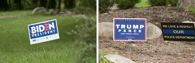 Presidential campaign signs like these two shown Thursday, Sept. 10, 2020, found within a half mile of one another on Byron Road in Howell Township, have been stolen from residents' yards around Livingston County.