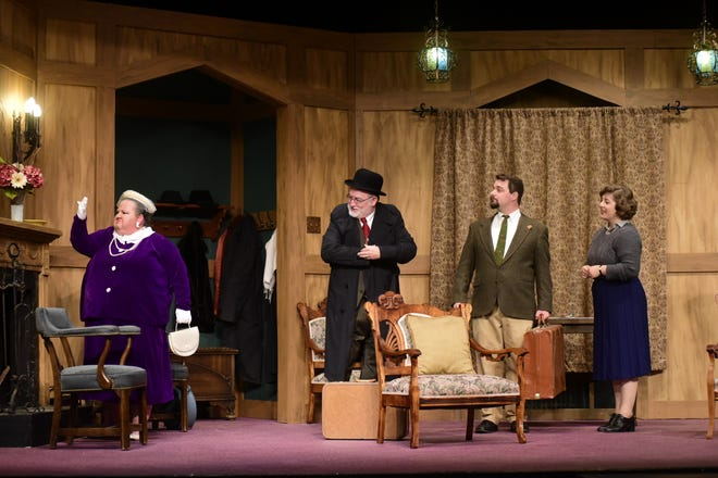 """Candy Boyd and Dave Derrenberger arrive at the country inn, greeted by Dan and Tori O'Brien in a rehearsal for Agatha Christie's """"Mousetrap,"""" the first show of the season at the Mansfield Playhouse."""