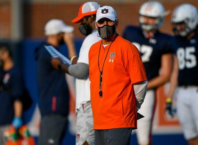 Auburn offensive coordinator Chad Morris at practice on Tuesday, Sept. 8, 2019 in Auburn, Ala.