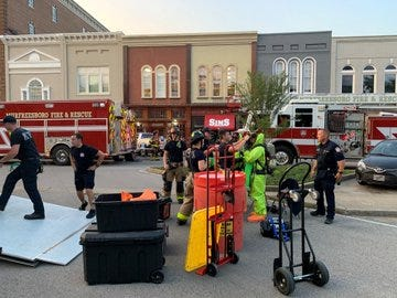 After a business received a letter with a powder prompted emergency workers to respond to the Murfreesboro square on Wednesday, Sept. 9, 2020.