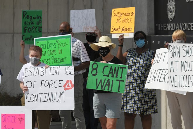 Nashville Organized for Action and Hope (NOAH) held a press conference outside the Nashville Police Department headquarters building on Thursday, Sept.10, 2020. NOAH leaders asked for implementation of specific police policy reforms.