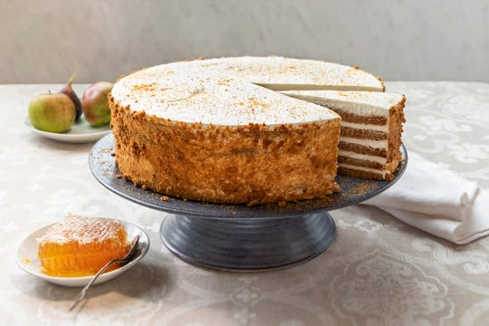 The Russian honey cake from Balthazar has thin layers covered in honey whipped cream.
