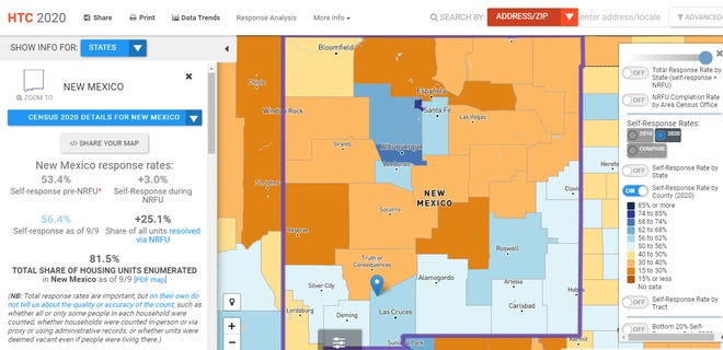 Reporting numbers are shown in a map of New Mexico, broken down by county.