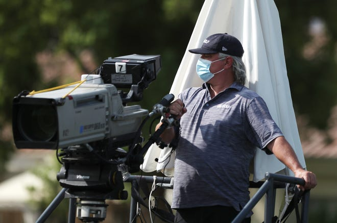 A cameraperson prepares to cover the round one of the ANA Inspiration at Mission Hills Country Club in Rancho, Mirage, Calif., on September 10, 2020.
