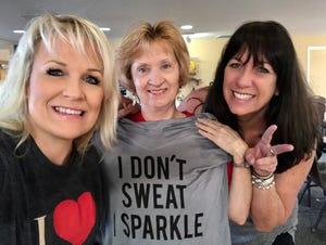 Rhonda Rhiner, Regina Pryor and Karina Bland at tap practice on Regina's birthday in 2016.