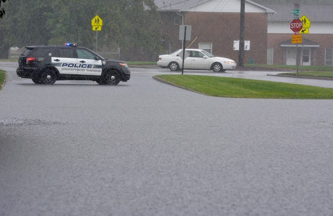 Springettsbury Township police block off Eastern Blvd. at Mill Street due to flooding, Thursday, September 10, 2020.John A. Pavoncello photo