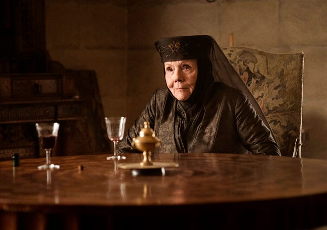 """Diana Rigg plays Olenna Tyrell in  """"Game of Thrones.""""  Rigg, who became a 1960s style icon as secret agent Emma Peel in TV series """"The Avengers,""""  died Thursday, Sept. 10, 2020 at home with her family. Daughter Rachael Stirling said she died of cancer that was diagnosed in March. She was 82."""