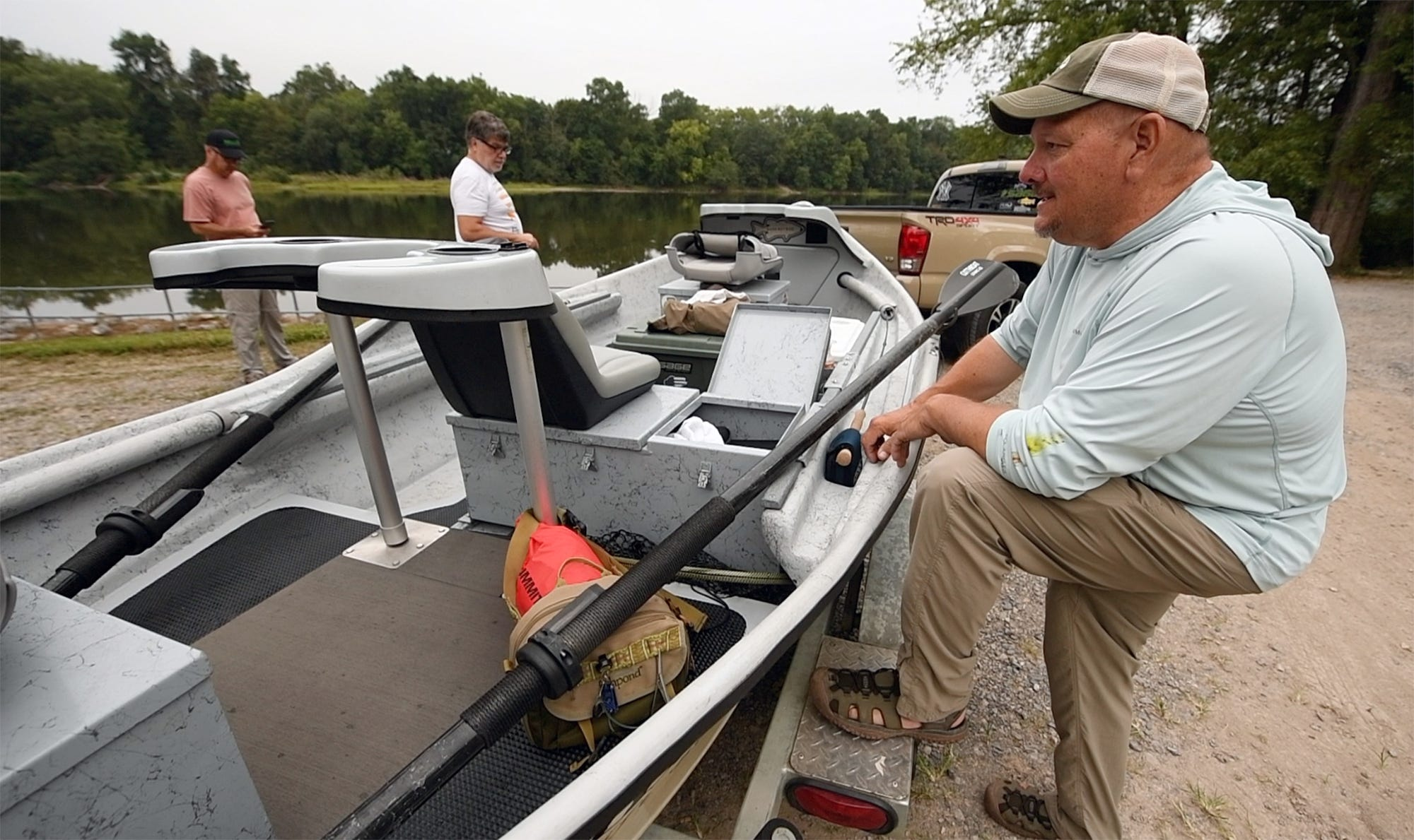 Brian Shumaker talks about his love for fishing that began when he was 7 years before taking two clients into the Juniata River near Newport, Pennsylvania Thursday September 10, 2020.