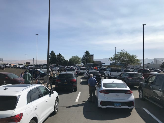 Traffic is backed up entering the Reno-Tahoe International Airport on Thursday, Sept. 10, 2020.