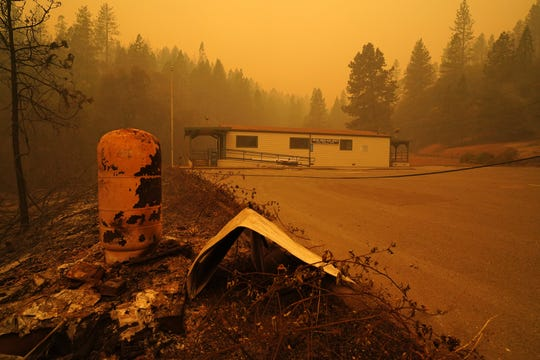 The U.S. Post Office in Berry Creek, California is still standing on Wednesday afternoon, Sept. 9, 2020 after the Bear Fire swept through the area.